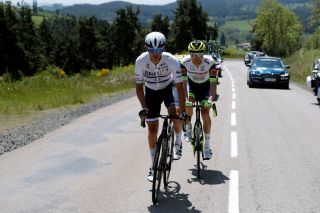 SAINT HAON LE VIEUXON FRANCE JUNE 01 Omer Goldstein of Israel and Team Israel StartUp Nation Loc Vliegen of Belgium and Team Intermarch Wanty Gobert Matriaux in breakaway during the 73rd Critrium du Dauphin 2021 Stage 3 a 1722km stage from Langeac to Saint Haon Le Vieuxon UCIworldtour Dauphin dauphine June 01 2021 in Saint Haon Le Vieuxon France Photo by Bas CzerwinskiGetty Images