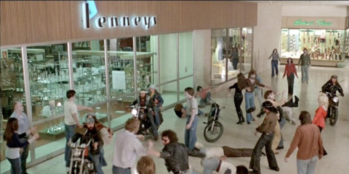 Zombies and bikers take over the mall in Dawn of the Dead