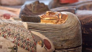 A close-up showing one of the mummy filled coffins. The colors are remarkably well preserved despite the passage of over 2,000 years of time.