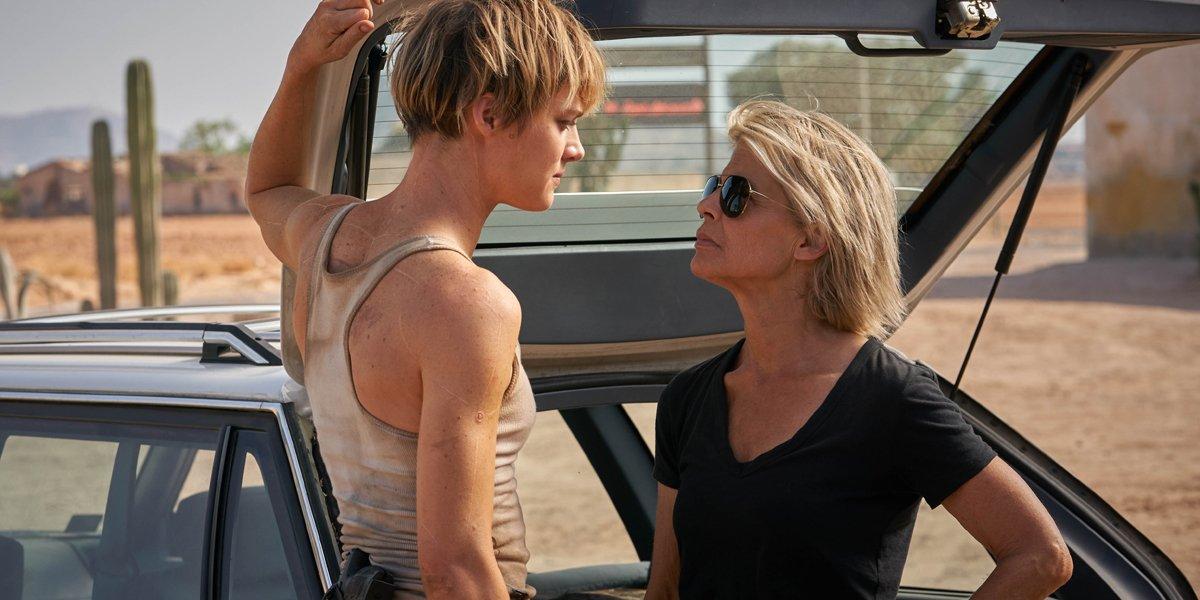 Mackenzie Davis and Linda Hamilton stare at each other in Terminator: Dark Fate