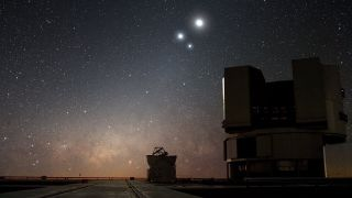 An image shows part of the Very Large Telescope, operated by the European Southern Observatory in Chile's Atacama Desert. The telescope was instrumental in watching the spaghettification event.