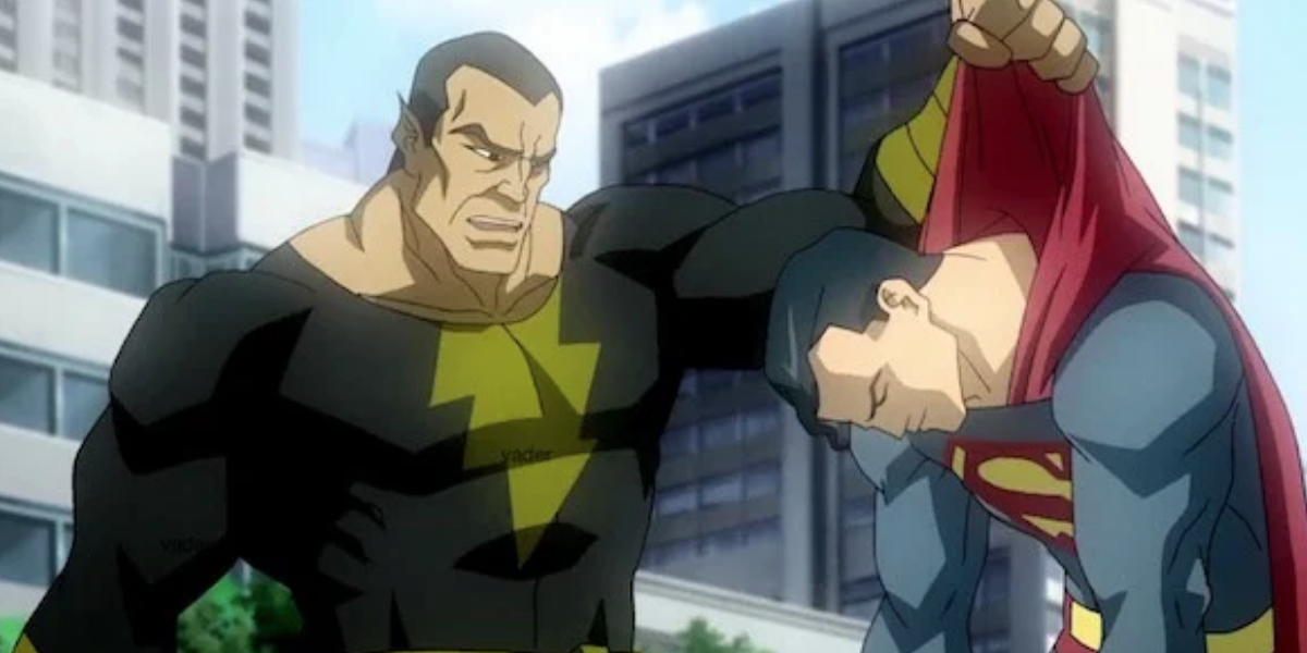 Black Adam with Superman in an animated movie
