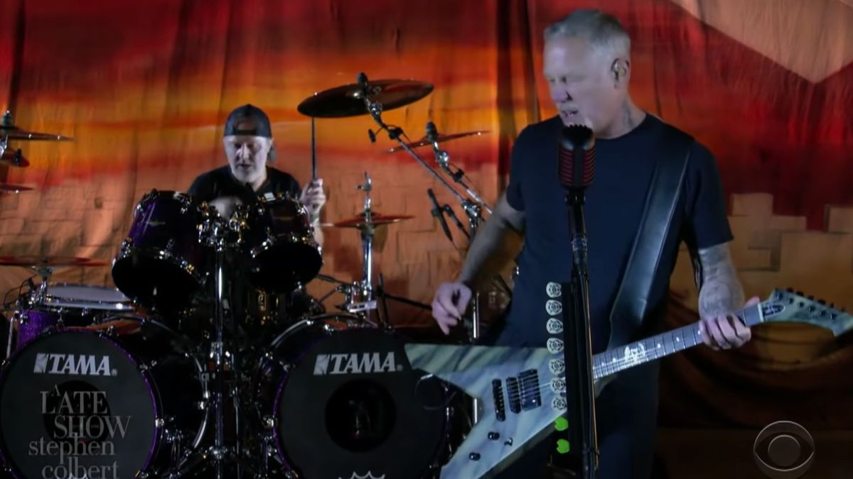 Metallica perform Battery for the 35th anniversary of Master of Puppets on The Late Show With Stephen Colbert