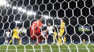 Harry Kane scores the opening goal in England's win over Ukraine in their Euro 2020 quarterfinal match on July 3, 2021.