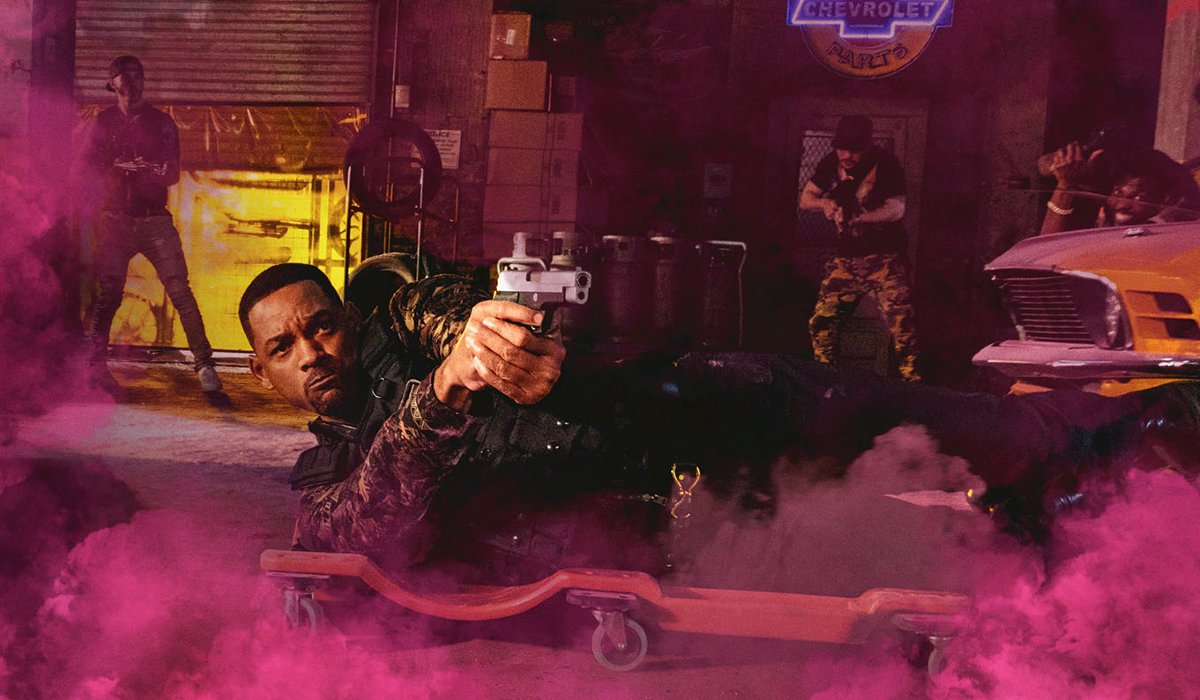 Bad Boys For Life Will Smith rolls by on a mechanic's dolly, as he shoots