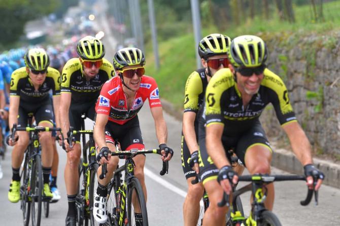 Race leader Simon Yates (Mitchelton Scott) follows his teammates