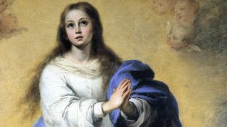 "This is part of the painting ""The Immaculate Conception of El Escorial"" by the Spanish Baroque artist Bartolomé Esteban Murillo. A copy of this painting, possibly by Murillo himself, was destroyed in a botched restoration attempt."