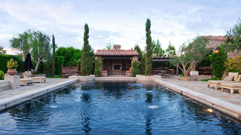 swimming pool with dark bottom