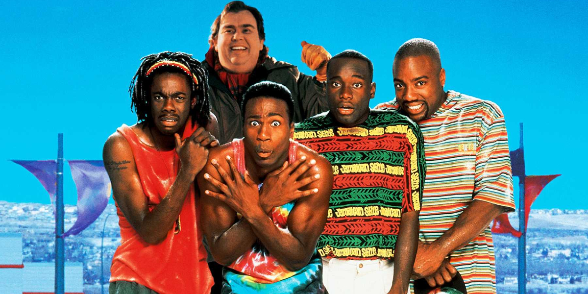 Cool Runnings the cast lined up in front of a wintry setup