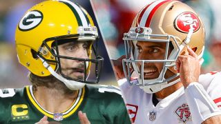 Green Bay Packers quarterback Aaron Rodgers (12) and Jimmy Garoppolo #10 of the San Francisco 49ers
