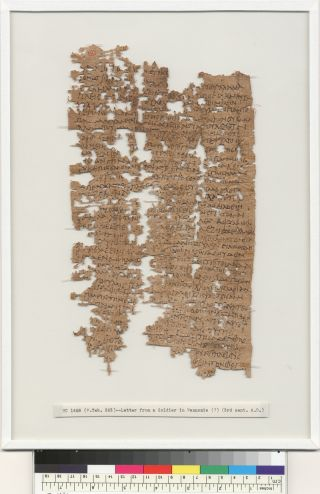 papyrus of 1,800-year-old letter written by Egyptian man serving in Roman army.