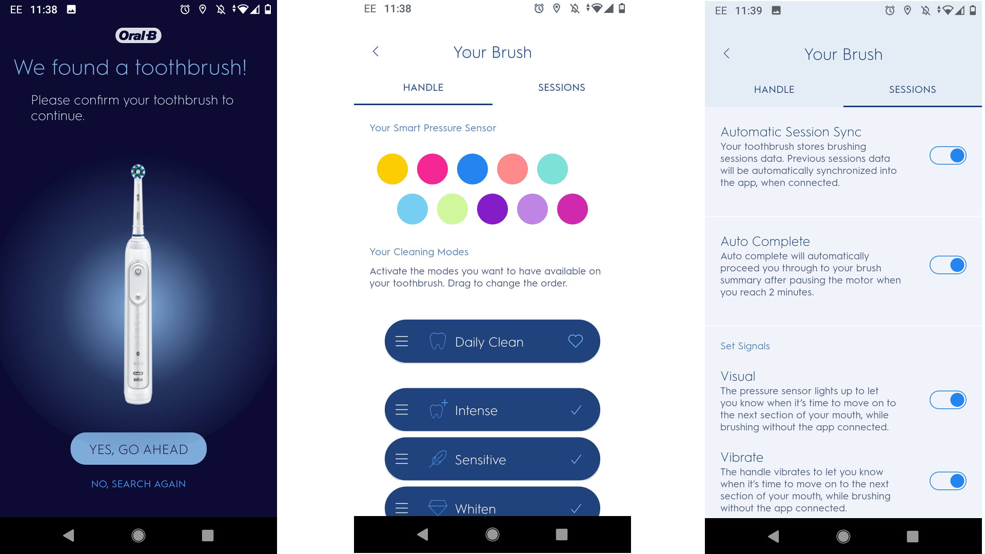Screenshots from the Oral-B smartphone app showing configuration options