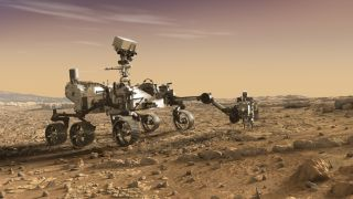Sanatçının NASA'nın 2020 Mars Gezegeninde gösterimi, Kızıl Gezegen'de.