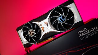 An AMD Radeon RX 6700 XT graphics card with a colourful gradient background