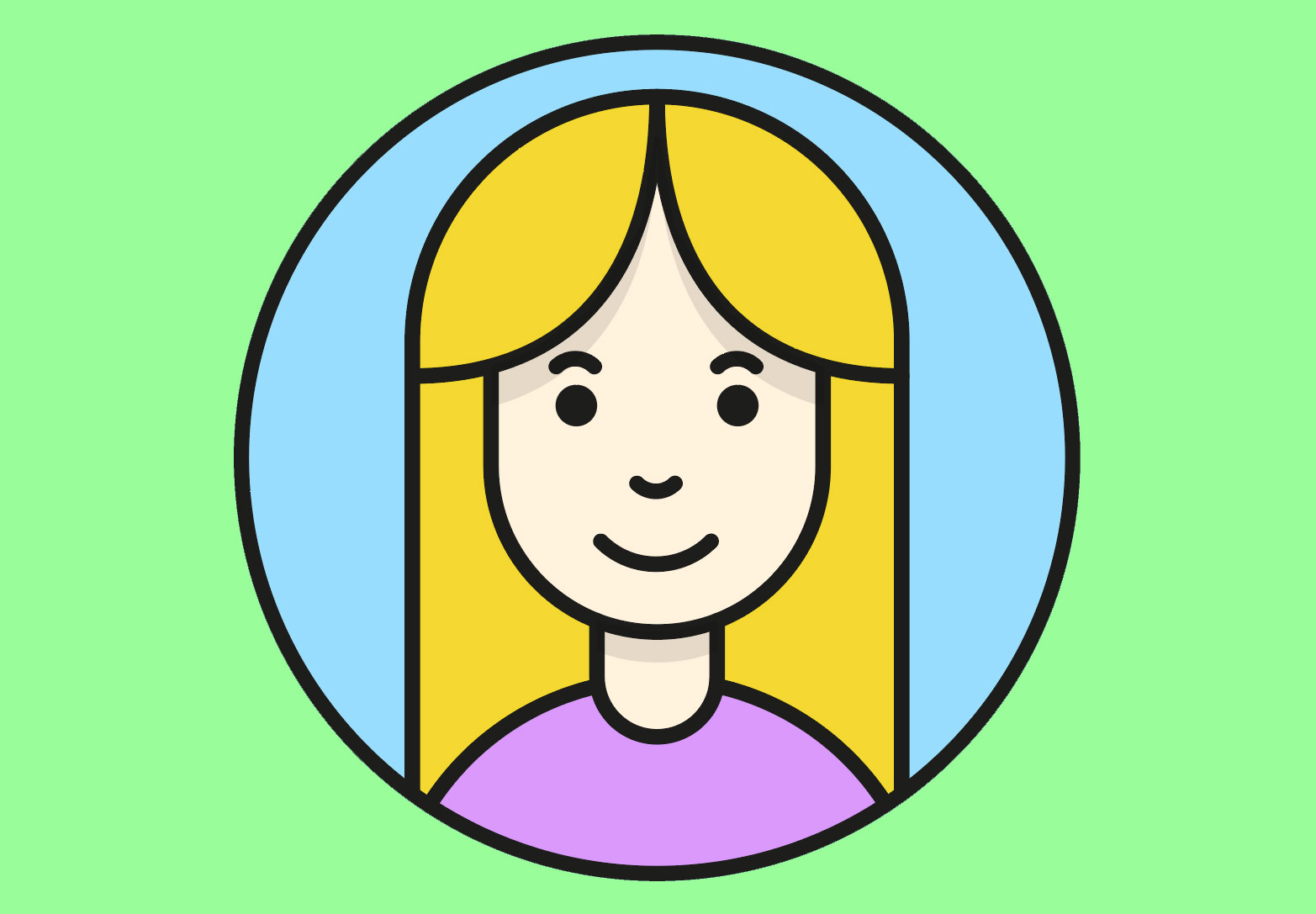 Cartoon of girl's face