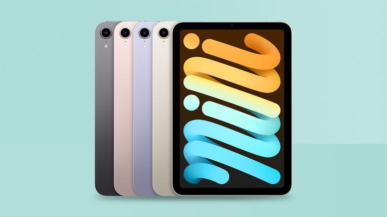 iPad mini deals 2021, iPad mini 6th gen in all four colours on green background