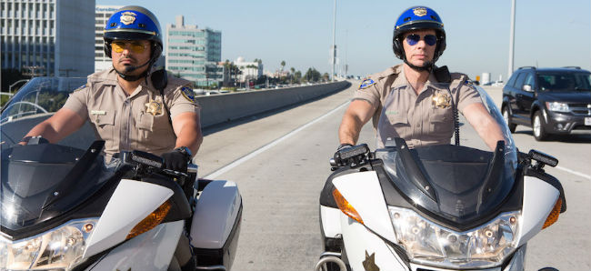Michael Pena and Dax Shephard Ponch and John Ride Their Bikes CHIPS
