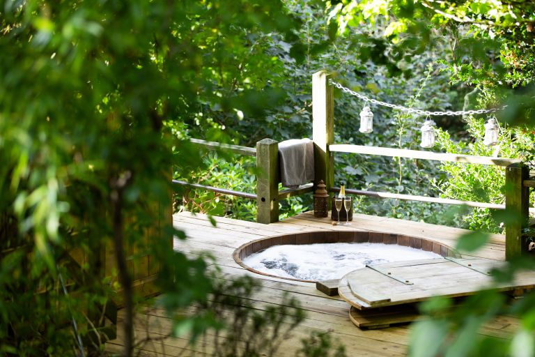 hot tub ideas: forest bathing Canopy & Stars