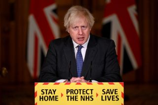 U.K. Prime Minister Boris Johnson at a COVID-19 press conference on Jan. 22, 2021, where he announced there is some evidence that the new U.K. variant is more deadly.