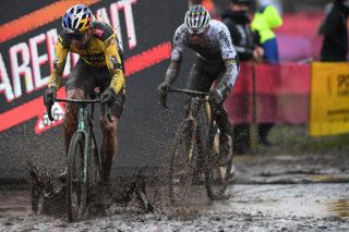 Belgian Wout Van Aert and Dutch Mathieu Van Der Poel pictured in action during the men elite race of the World Cup cyclocross in Dendermonde third stage out of five of the UCI World Cup competition in Dendermonde Sunday 27 December 2020 BELGA PHOTO DAVID STOCKMAN Photo by DAVID STOCKMANBELGA MAGAFP via Getty Images