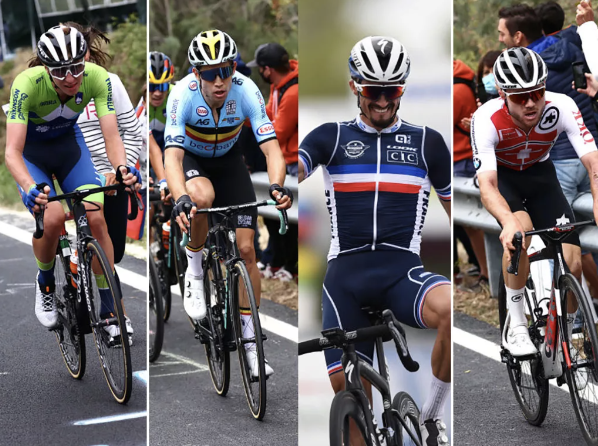 Tadej Pogacar, Wout van Aert, Julian Alaphilippe and Marc Hirschi are among the 10 riders to watch for the World Championships (Image credit: Getty Images Sport)