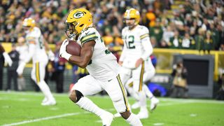 Aaron Jones (33) of the Green Bay Packers during a regular season Monday Night Football game