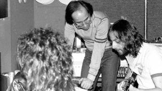 Elliott Randall (far right) in the studio