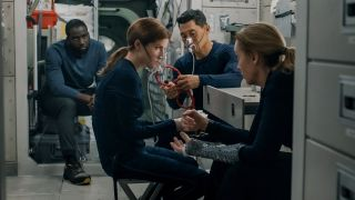 "From left, Shamier Anderson, Anna Kendrick, Daniel Dae Kim and Toni Collette in ""Stowaway"" on Netflix."