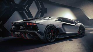 Rear view of the Lamborghini Aventador
