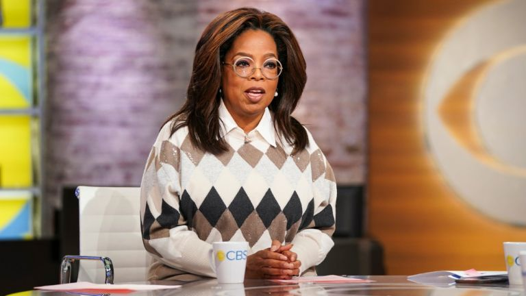 "CBS This Morning Co-Anchors Gayle King, Anthony Mason, and Tony Dokoupil interview Oprah on her new Book Club Selection, ""Olive, Again"" with author Elizabeth Strout. (Photo by Michele Crowe/CBS via Getty Images)"