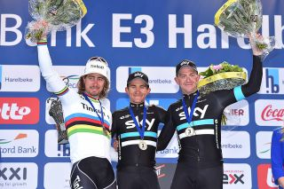 Sagan, Kwiatkowski and Stannard on the E3 Harelbeke podium