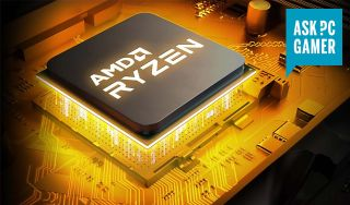 AMD Ryzen render with orange glow under the chip and ASK PC GAMER logo in the top right