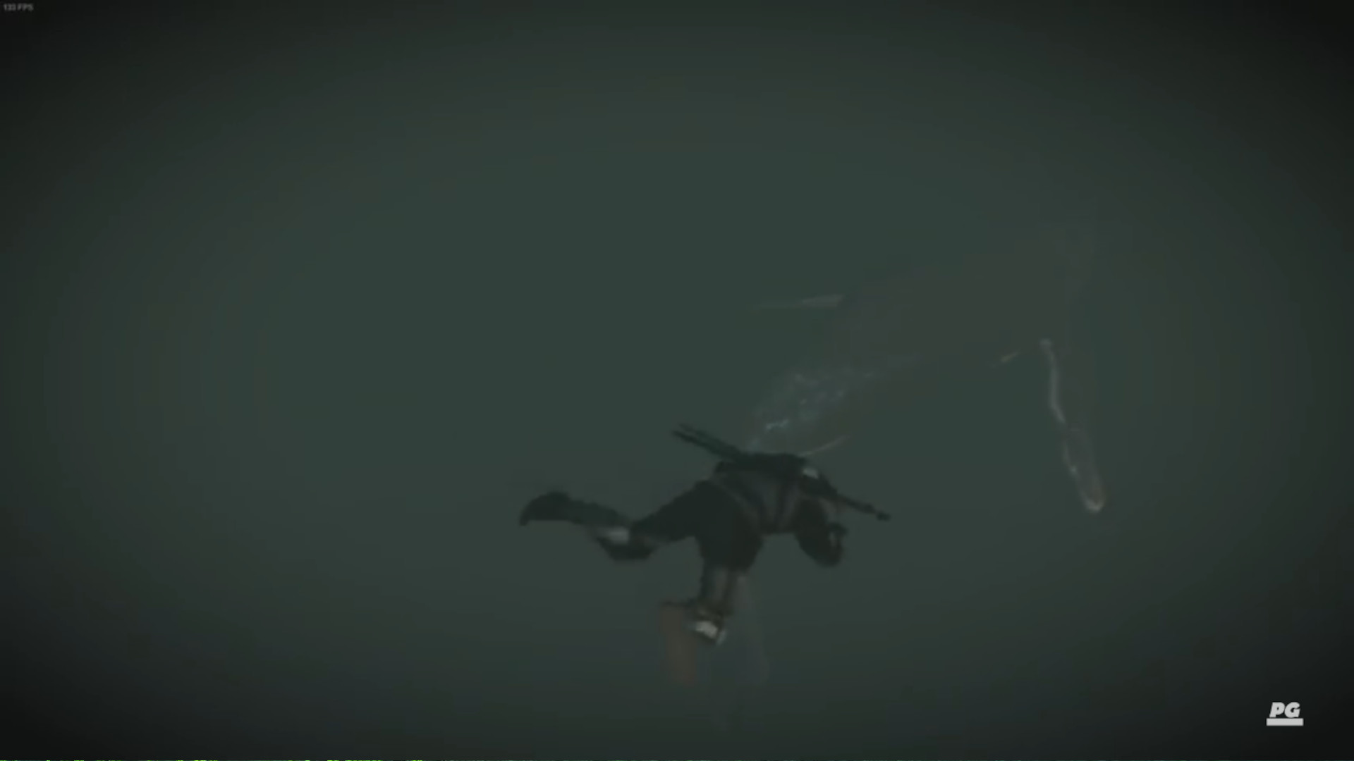 Geralt in The Witcher 3 swimming towards a whale in dark water