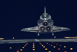 Space shuttle Endeavour night landing