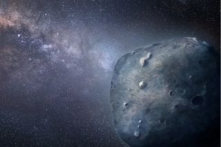An artist's impression of the blue asteroid 3200 Phaethon.