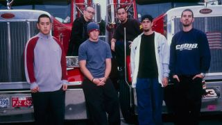 A promotional picture of Linkin Park, taken in 2001