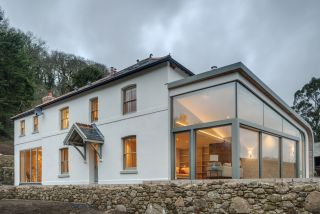 a modern house extension with glazing