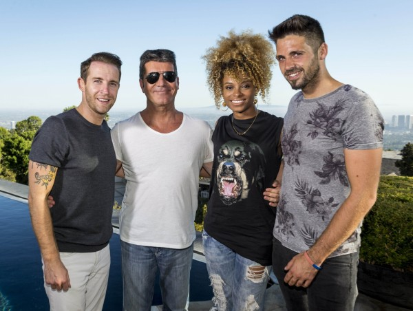Simon Cowell and his X Factor acts - Jay, Ben, Fleur and wildcard Stevi