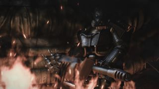 Screenshot of a player with X-03 Enclave Hellfire Power Armor from the Capital Wasteland mod