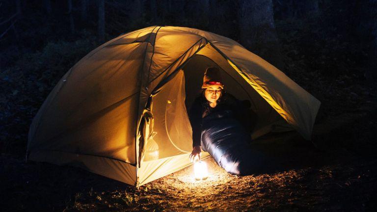 BioLite AlpenGlow camping lantern illuminating a tent