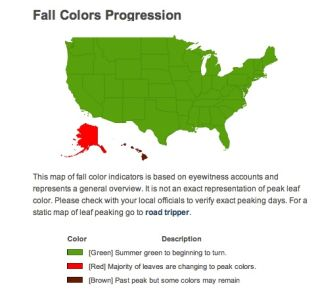 This map made by the U.S. Forest Service shows you where the leaves are turning colors.