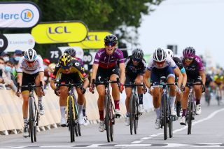 Marianne Vos fades to third place at La Course by Le Tour de France in the final sprint in Landerneau