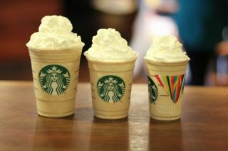 An image of a mini, small and medium starbucks Frappuccino.