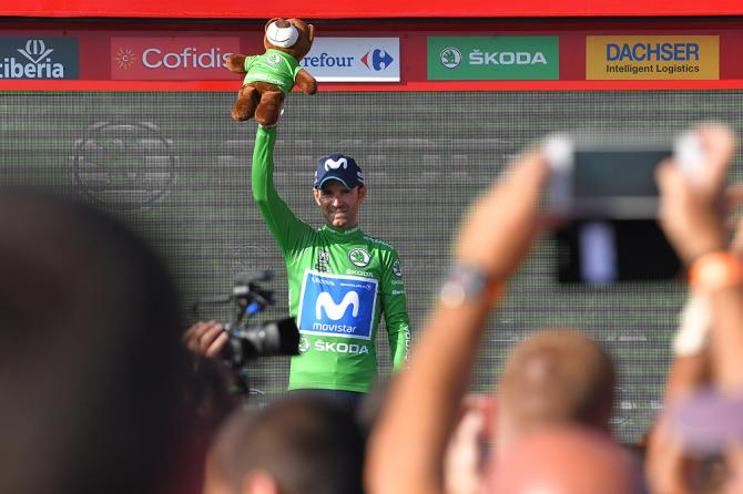 Alejandro Valverde (Movistar) in the points jersey after stage 16 time trial at the Vuelta a Espana