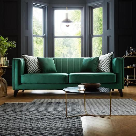 green velvet sofa in living room fluted fluting reeded reeding