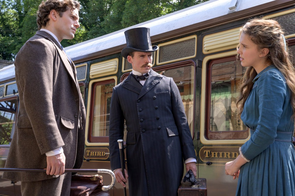 Millie Bobby Brown, Henry Cavill and Sam Claflin in Enola Holmes