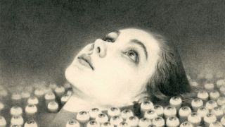 Pencil illustration of a woman's face emerging from a riverbed of eyeballs