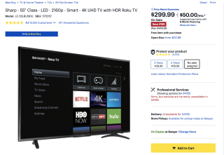 Sharp 4K Roku TV $299 at BestBuy