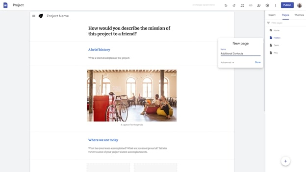 Google Sites' pages menu within the website builder interface
