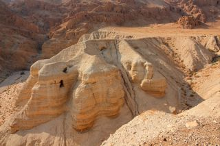 Qumran caves at the archaeological site in the Judean desert of the West Bank, Israel